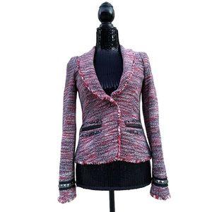 RACHEL Rachel Roy Multi Color Tweed Fringe Blazer